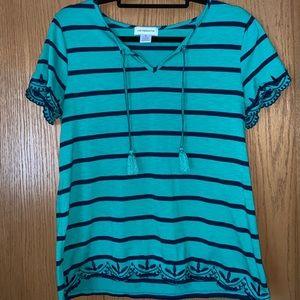 Liz Claiborne Tie-Neck Embroidered T-Shirt